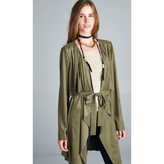 Suede Waterfall Trench Coat - S / Olive - womens Jackets