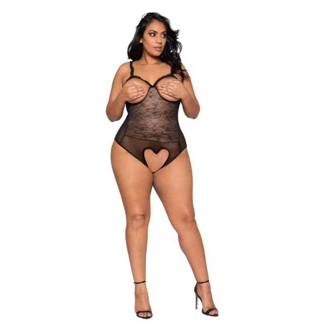 Teddy with Cutout Top - XL/XXL / Black - lingerie