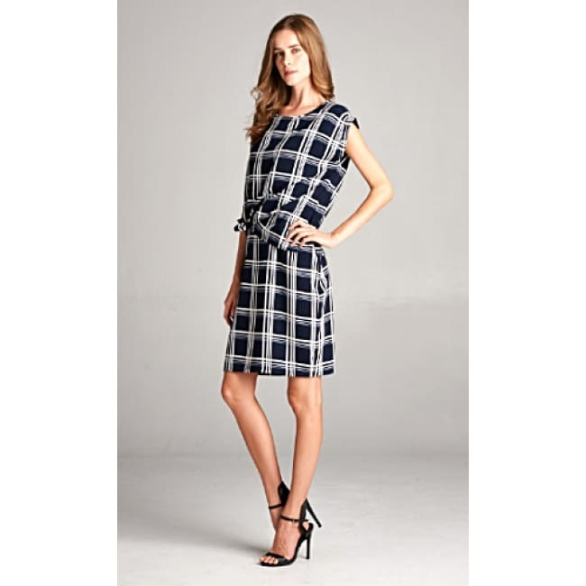 Two Piece Tie Knot Plaid Dress Set - Dresses
