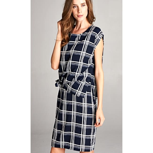 Two Piece Tie Knot Plaid Dress Set - S / Navy - Dresses