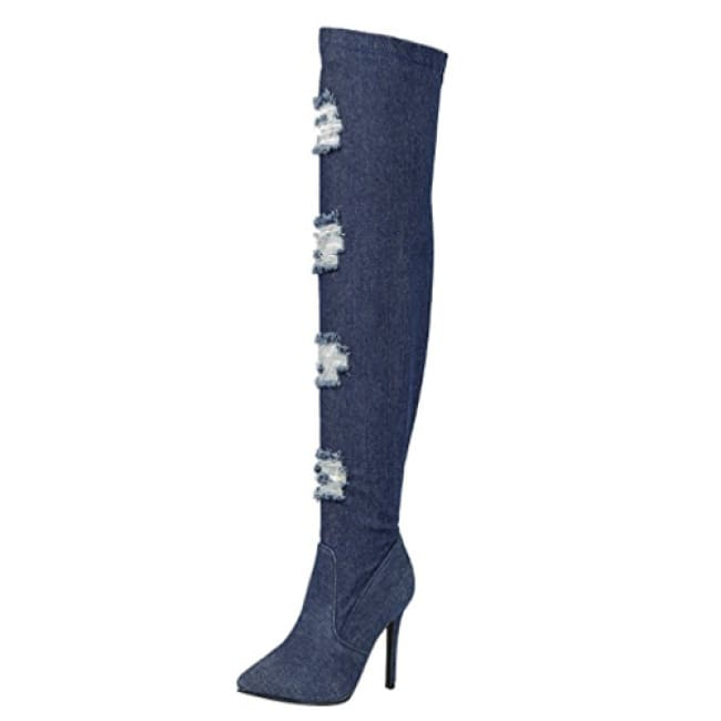 Under The Knee Low Stiletto Heel Denim Boots