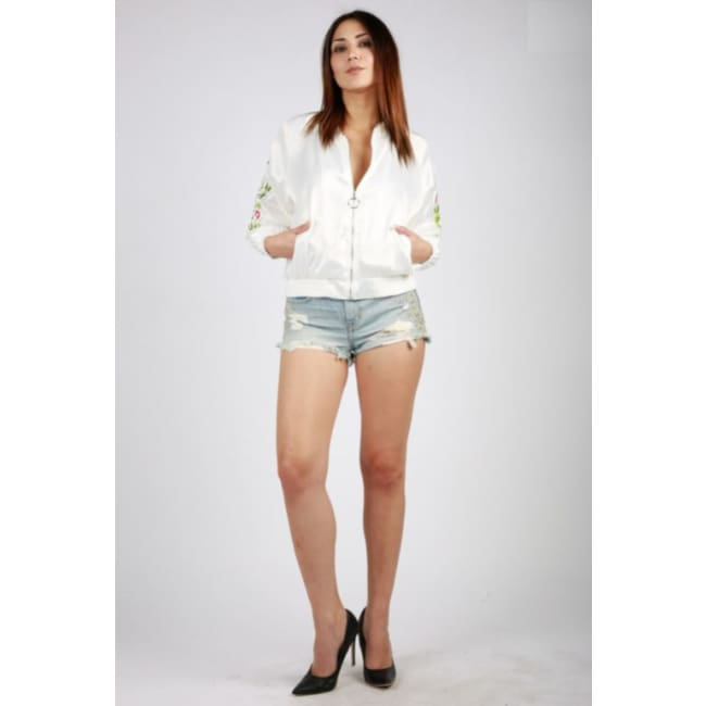 White Floral Print Bomber Jacket - womens Jackets