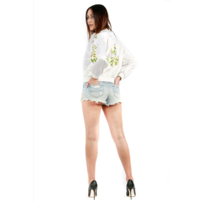White Floral Print Bomber Jacket - S / White - womens Jackets