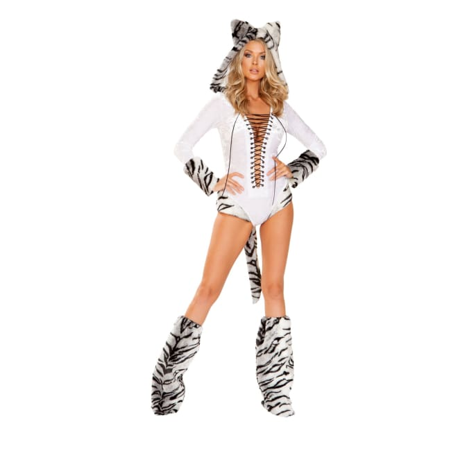 White Tiger Costume Set - Small / White/Grey - Costume