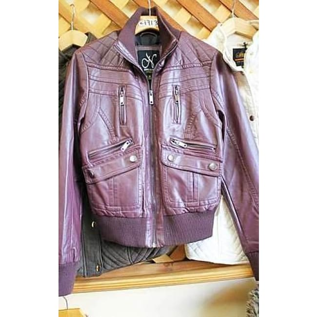 Wine Vegan Leather Moto Jacket - womens Jackets