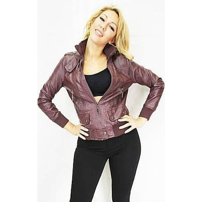 Wine Vegan Leather Moto Jacket - S / wine - womens Jackets