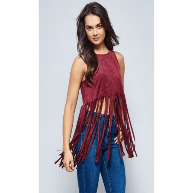 Womens Burgundy Fringe Sleeveless Crop Top - S / Burgundy - Tops