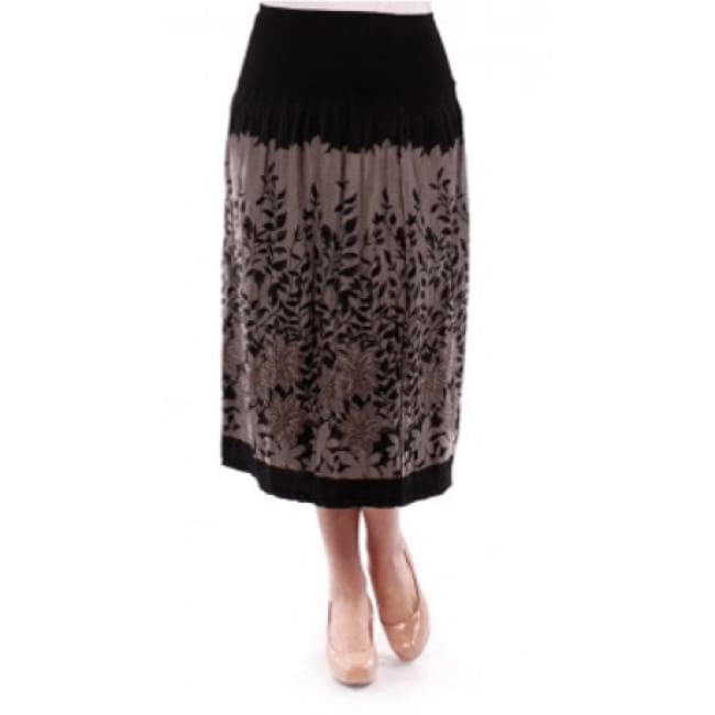 Womens Floral Print Skirt - 1X / Black - Skirts