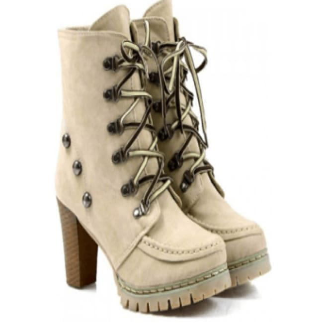Womens Lace Up Chunky Heel Boots - 6 / Tan - Shoes
