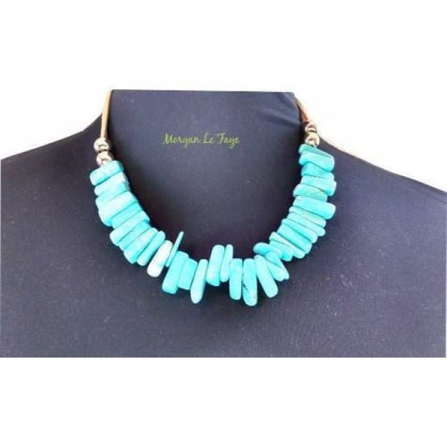 Womens Leather Turquoise Necklace and Earring Set - Accessories