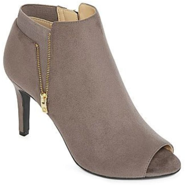 Womens Liz Claiborne Solstice Peep-Toe Booties Gray Suede - Shoes