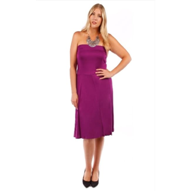 Womens Plum Strapless Convertible Dress - 1X / Purple - Dresses