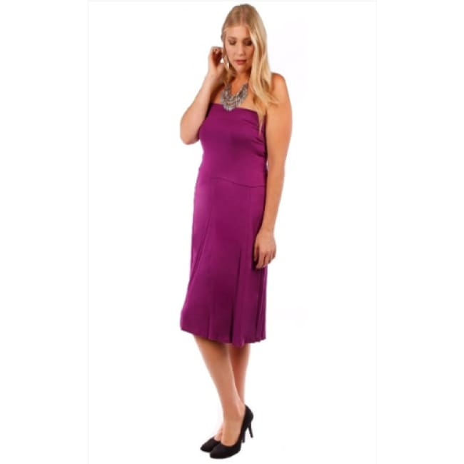 Womens Plum Strapless Convertible Dress - Dresses