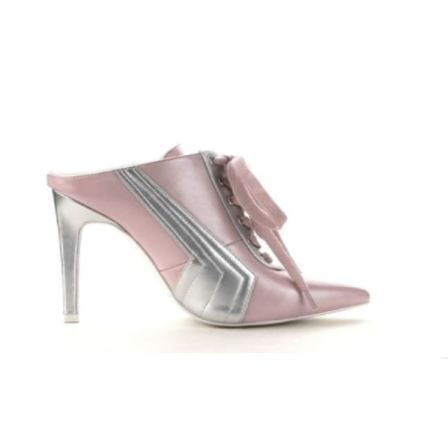 Womens Sporty Pointed Toe Stiletto Crossover Mules - 6 / Pink - Boots