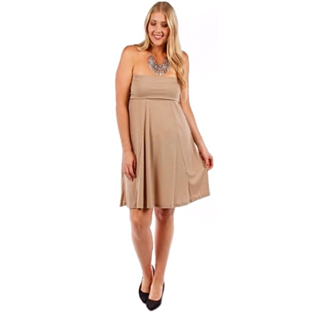 Womens Tan Convertible Strapless Dress - 1X / Tan - Dresses