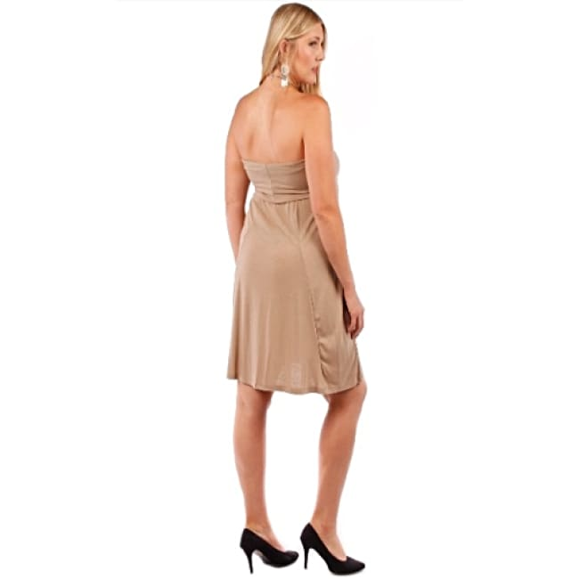 Womens Tan Convertible Strapless Dress - Dresses