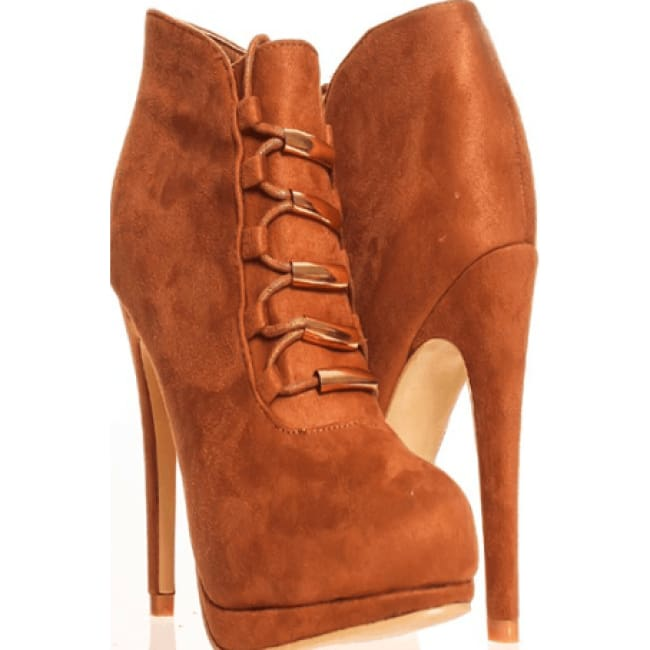 Zazu Camel High Heel Suede Booties