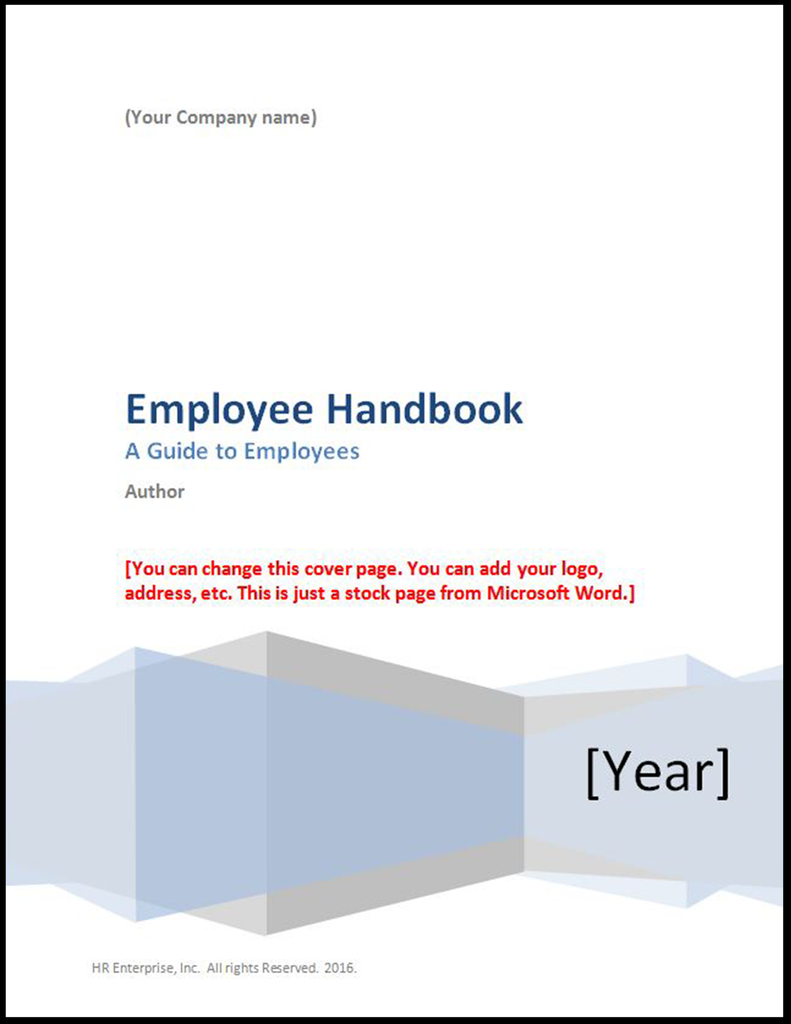 Employee Handbook Cover Page Template 2017 Hr Enterprise