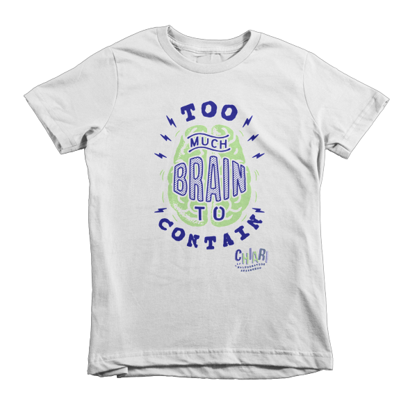 Too Much Brain To Contain Kid's Tee - White