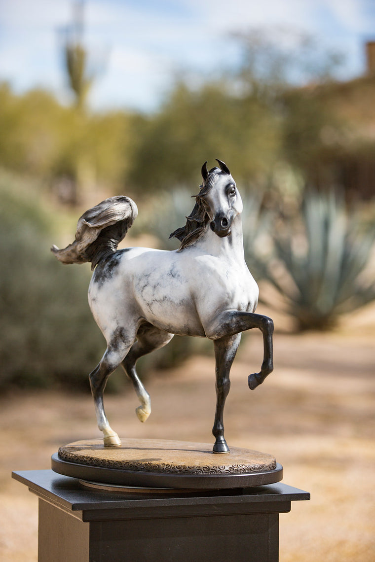"""Chall"" Arabian Stallion Bronze  22"" x 23"""