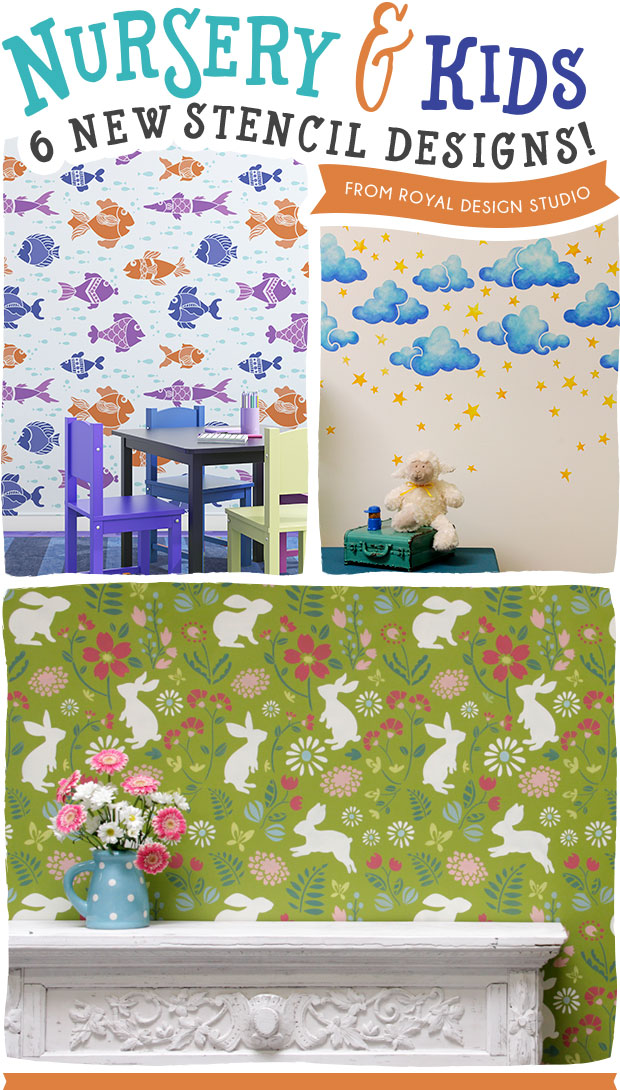 6 NEW & Cute & Creative Nursery Stencil Ideas - Royal Design Studio Wall Stencils