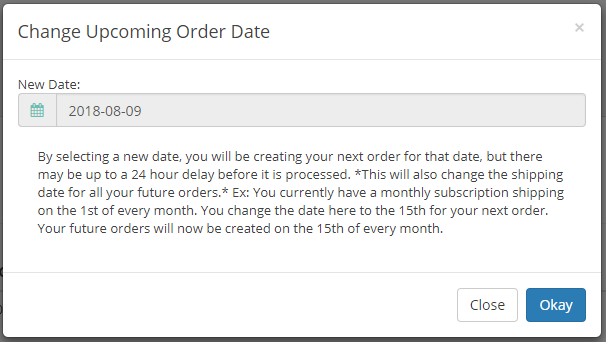 Change Upcoming Order Date