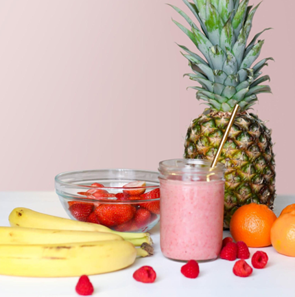 protein smoothie made with pineapple, strawberries and bananas