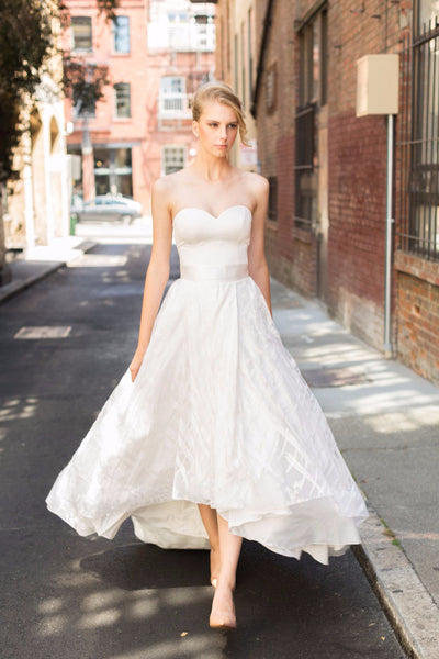 Siena High Low Lace skirt. Custom made wedding dress by Lace & Liberty