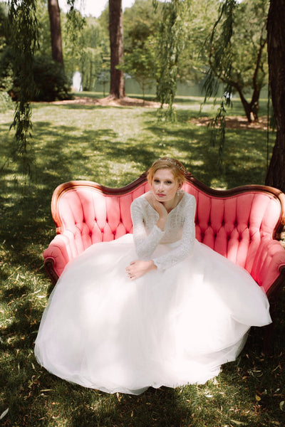 Dream tulle skirt & Manderley long sleeve top: Bridal separates. Custom made wedding dress by Lace & Liberty