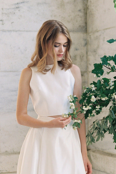 Soho Modern Satin Bridal Top - Bridal Separates - Custom made wedding dress by Lace & Liberty