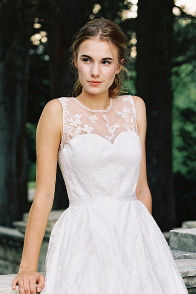 Siena Sheer Neckline Lace bridal top - bridal separates - custom made wedding dress by Lace & Liberty