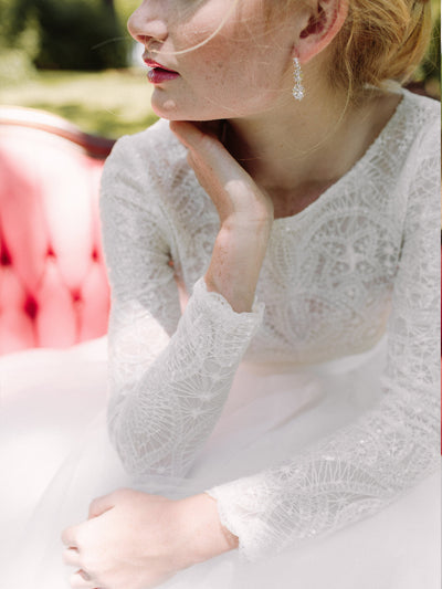 Manderley Long Sleeve Sequin Bridal Top - Bridal Separates - Custom Made Wedding Dress by Lace & Liberty