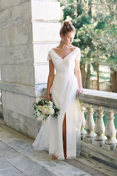 Athena Dress - V Neck Wedding Dress with Sequined Sleeves & Sheer Back - Custom Made Wedding Dress by Lace & Liberty