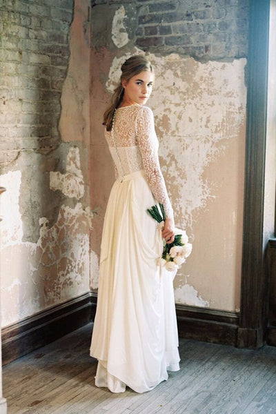 Garden Muse chiffon skirt & Laguna long sleeve top: Bridal Separates. Custom made by Lace & Liberty