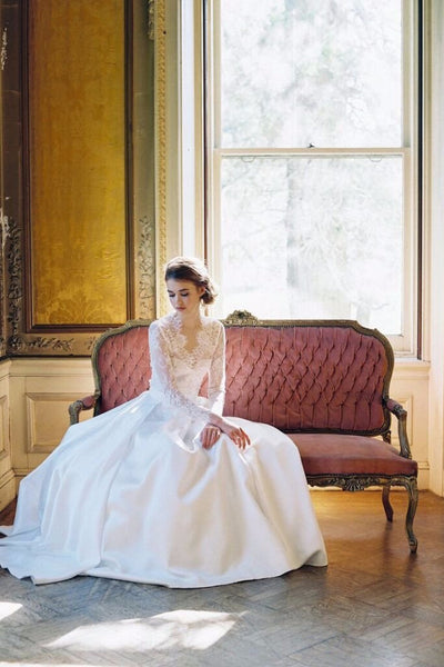 White Tie Ballgown Bridal Skirt & Abbey Long Sleeve Lace Top. Custom Made by Lace & Liberty