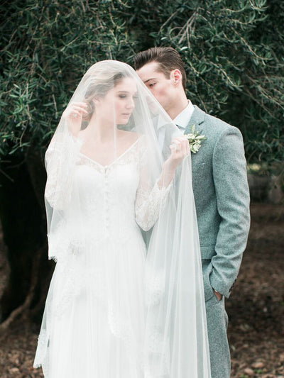 Chapel Length Lace Veil. Lace & Liberty