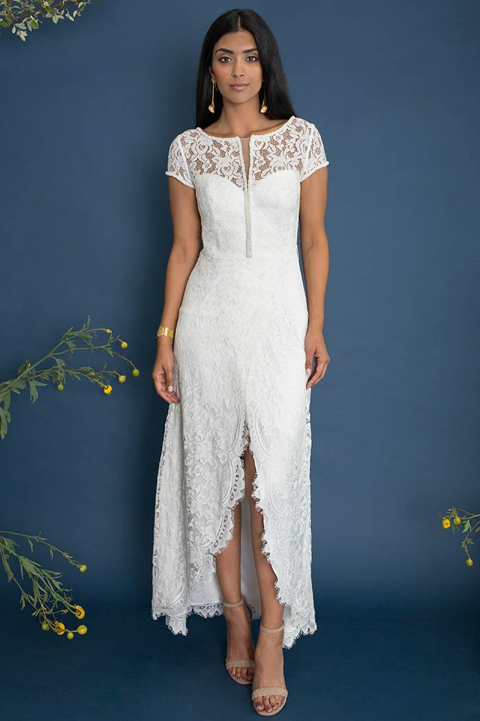 Primrose Dress - Lace short sleeve wedding dress. Custom made by Lace & Liberty