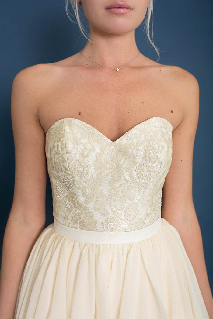 Paris Champagne Lace Sweetheart Bridal Corset with Beading - Bridal Separates - Custom made wedding dress with Lace & Liberty