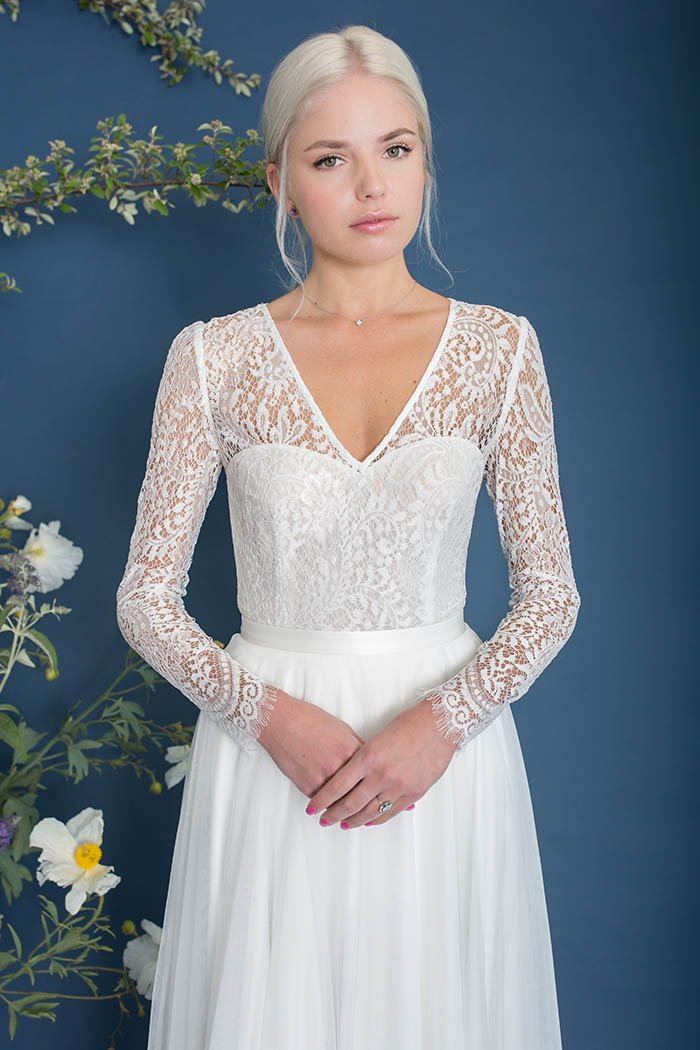 Laguna Long Sleeve Lace Bridal Top - Bridal Separates - Custom made wedding dress by Lace & Liberty