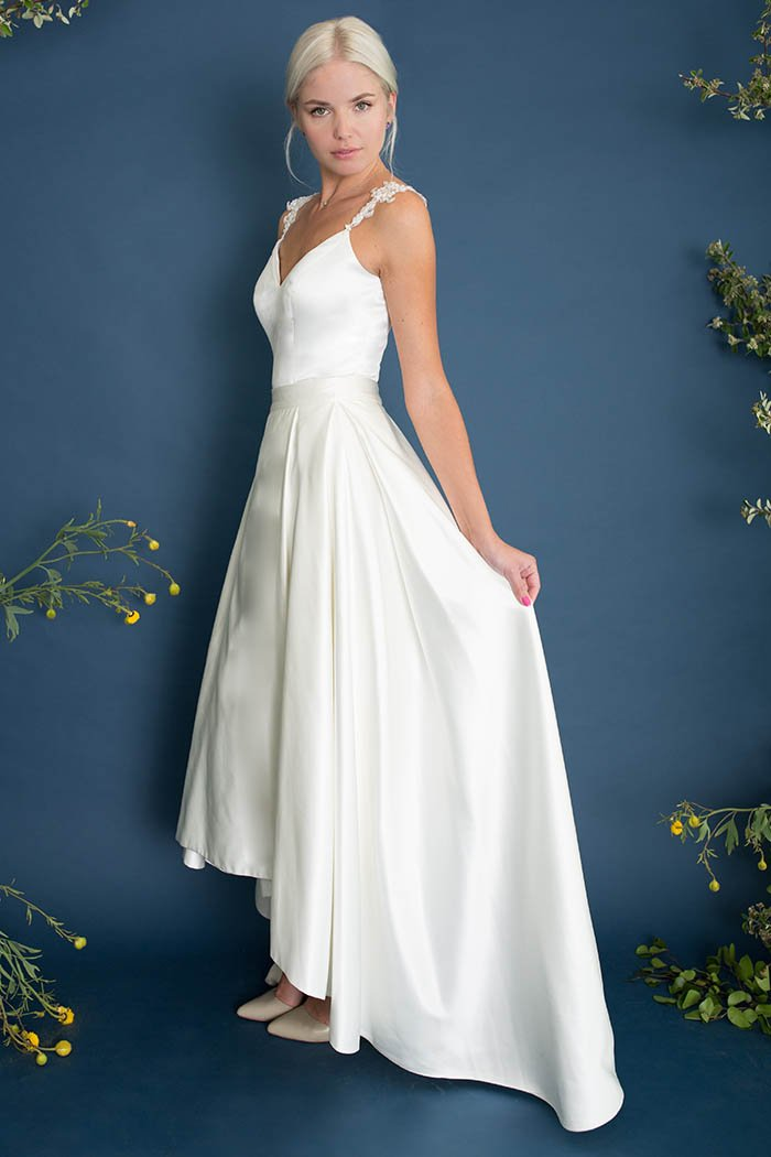 Modern Soho satin bridal top & skirt. Custom made wedding dress by Lace & Liberty