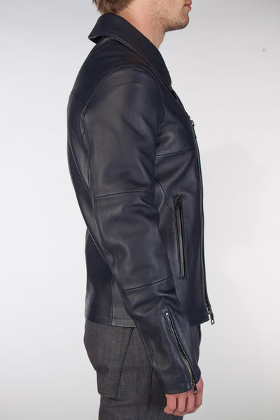 Leather Moto Jacket - Navy