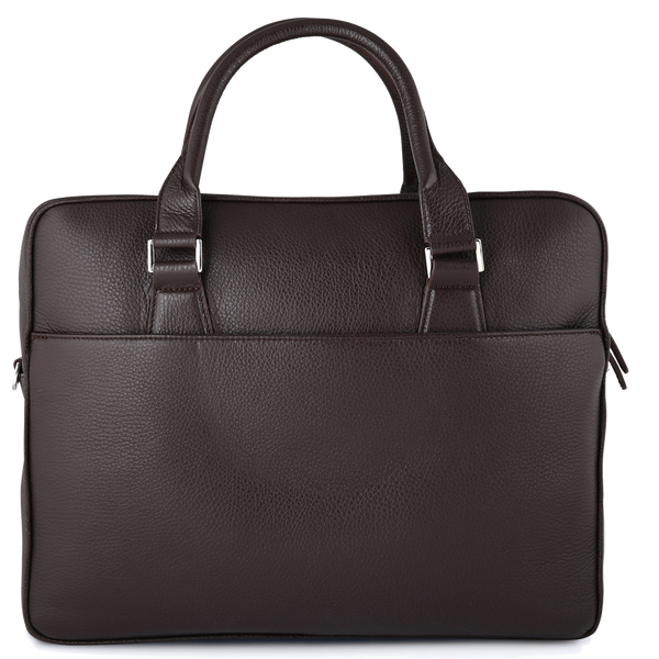 Grained Calf Leather Briefcase Brown