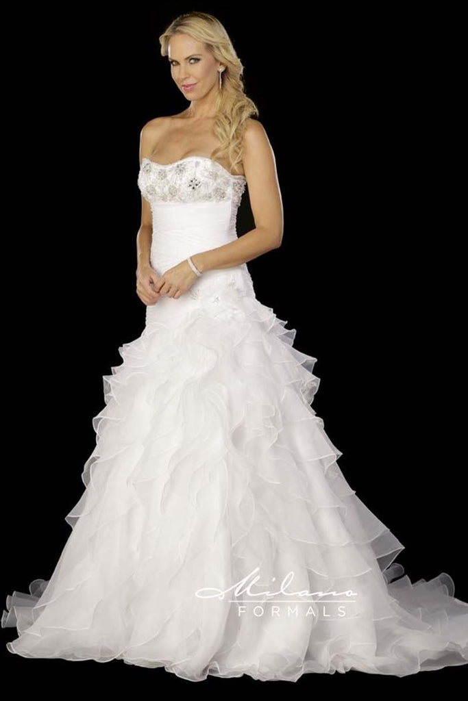 Trumpet organza ruffle wedding dress