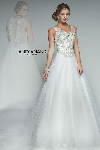 BEADED ruffle A-line ball gown wedding dress