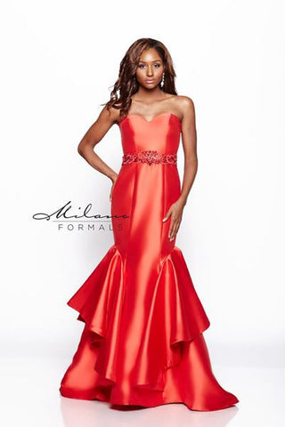 Designer Milano Formals lace long prom dress.