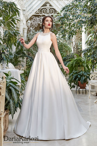 Ivory satin wedding dress ball gown A-Line