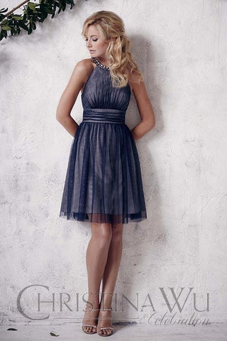 Short bridesmaid dress by House of Wu..