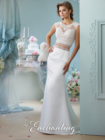 2016 Enchanting Two-Pieces Satin Wedding Gown Collection By Mon Cheri