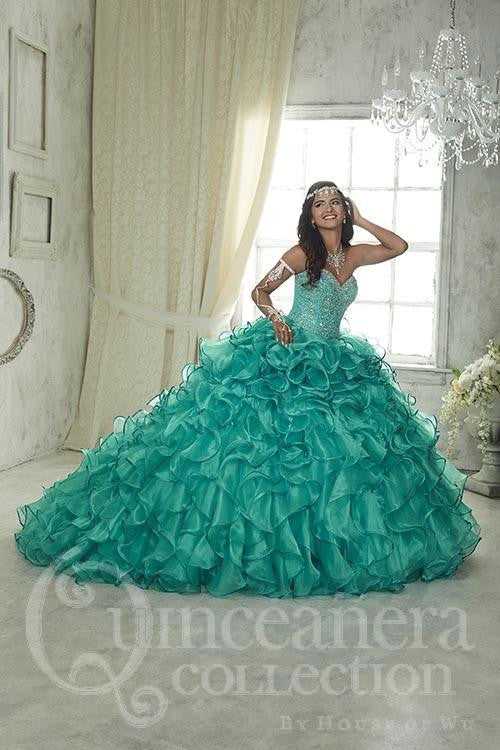 Quinceanera, sweet 16 strapless corsage ball gown dress by designer House Of Wu