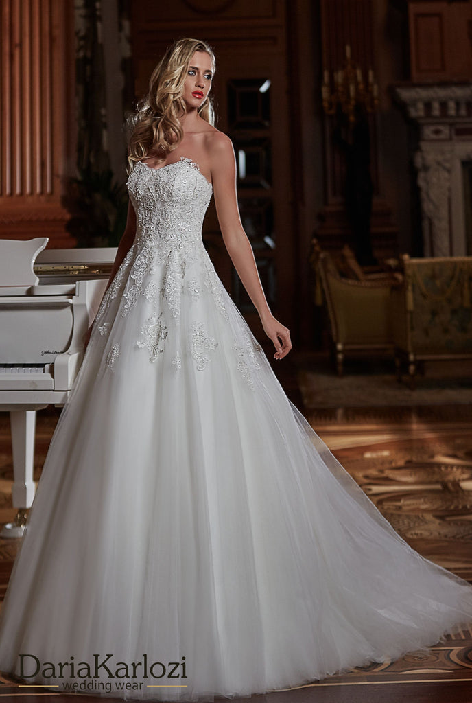 Ivory lace satin wedding dress ball gown A-Line strapless – Bela Bridal
